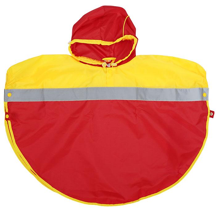 Дождевик детский Чудо-Чадо Светлячок, цвет: красный, желтый. NAC08. Размер 122/128NAC08Яркая и удобная накидка-дождевик Чудо-Чадо Светлячок со светоотражающей лентой защитит ребенка от дождя и сделает его заметным. Дождевик изготовлен из плотной плащевки с водоотталкивающей пропиткой, которая не промокает и не липнет к одежде. Специальная конструкция накидки не сковывает движения ребенка, позволяет спрятаться под дождевик вместе с рюкзаком или сумкой, в этом дождевике можно даже кататься на велосипеде. Дождевик выполнен в виде пончо, с помощью кнопок он застегивается на запястьях, образуя тем самым рукава, или фиксируется на талии. Особый капюшон закрывает голову, но при этом не мешает смотреть по сторонам и не слетает от ветра.Светоотражающая лента по всей окружности накидки делает ребенка заметным даже в темное время суток.Дождевик легко складывается и займет совсем немного места в сумке. Его всегда можно носить с собой.Гулять в таком ярком дождевике одно удовольствие для ребенка, и полное спокойствие для мамы!