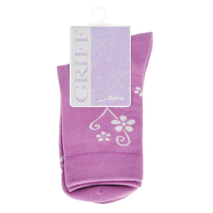Носки женские Griff Цветок, цвет: фиолетовый. D263. Размер 35/38D263Женские носки Griff Цветок изготовлены из высококачественного сырья. Носки очень мягкие на ощупь, а широкая резинка плотно облегает ногу, не сдавливая ее, благодаря чему вам будет комфортно и удобно. Усиленная пятка и мысок обеспечивают надежность и долговечность.Носки оформлены цветочным орнаментом.