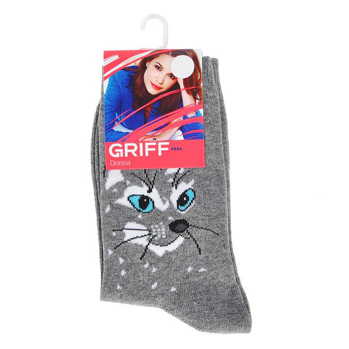 Носки женские Griff Кот, цвет: темно-серый. D0C3. Размер 39/41D0C3Носки, изготовленные из высококачественного сырья с применением передовых технологий, идеально подойдут к одежде свободного стиля. Комфортная резинка не сдавливает ногу.