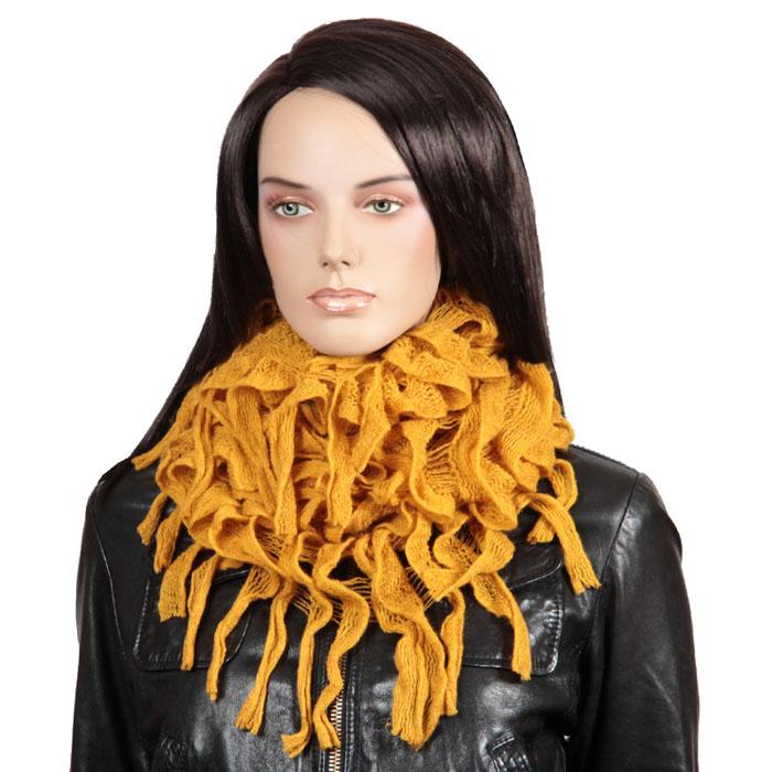 Снуд-хомут Sabellino, цвет: желтый. 92Ш1А_109_7. Размер универсальный92Ш1А_109_7Вы выбрали для себя женственный и даже в чем-то страстный образ? Значит, более других вам подойдет гламурный стиль. Помните лишь, что гламур - это не просто одежда и аксессуары определенного стиля, но еще и особенное поведение, главная черта которого - позитивность в восприятии окружающего мира. И при этом совершенно не обязательно, что бы весь ваш гардероб был только в оттенках розового. Подлинный гламур - это яркие и стильные нюансы в одежде и аксессуарах, подчеркивающие вашу индивидуальность и позволяющие выделиться из толпы. Например, вот этот красивый снуд, так точно подчеркивающий вашу загадочность… Стильный снуд-хомут Sabellino, выполненный из шерсти с добавлением акрила, создан подчеркнуть ваш неординарный вкус и согреть вас в прохладное время года. Снуд - это объемный шарф, связанный по кругу.Этот модный аксессуар гармонично дополнит образ современной женщины, следящей за своим имиджем и стремящейся всегда оставаться стильной и элегантной.