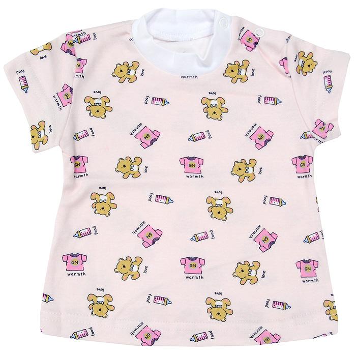 Футболка детская Фреш Стайл, цвет: розовый. 33-237 Размер 80, 12 месяцев
