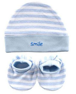 Комплект детский Luvable Friends: шапочка, пинетки, цвет: голубой, белый. 3291. Размер 55/78, 0-12 месяцев