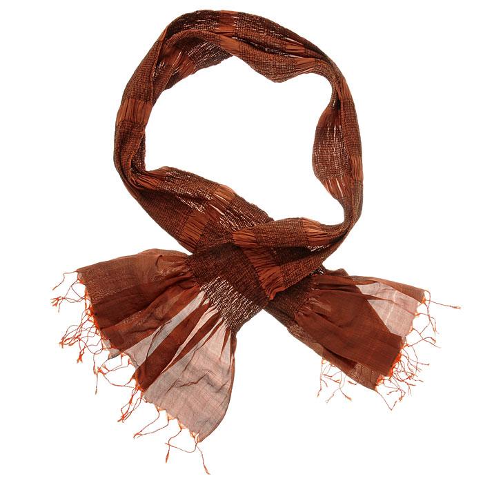 Шарф Ethnica, 70 см х 180 см, цвет: оранжевый. 510375