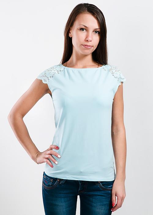 Футболка женская Lowry, цвет: голубой. LM-221. Размер L (46/48)LM-221Стильная женская классическая футболка с короткими кружевными рукавами, изготовленная из хлопка с добавлением лайкры, прекрасно подойдет для любого типа фигуры.Такая замечательная футболка станет как отличным украшением гардероба, так и восхитительным подарком. В ней вы всегда будет в центре внимания!