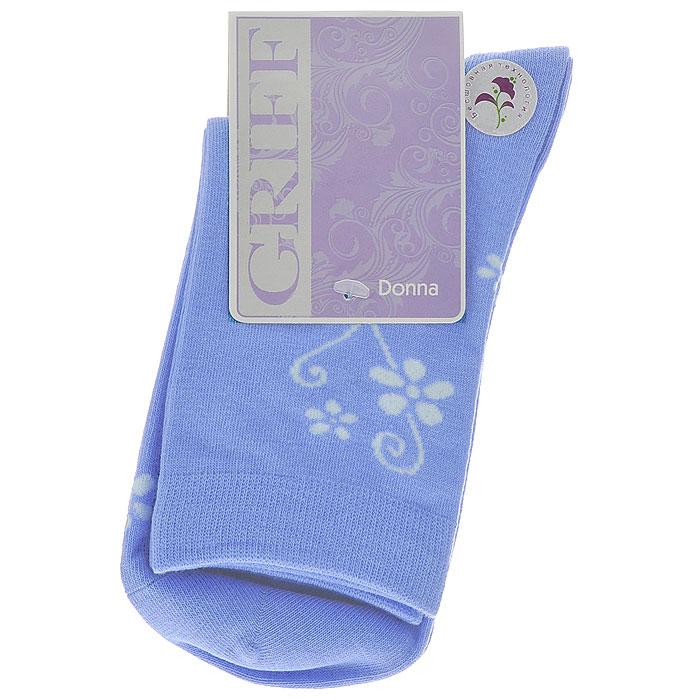 Носки женские Griff Цветок, цвет: голубой. D263. Размер 39/41D263Женские носки Griff Цветок изготовлены из высококачественного сырья. Носки очень мягкие на ощупь, а широкая резинка плотно облегает ногу, не сдавливая ее, благодаря чему вам будет комфортно и удобно. Усиленная пятка и мысок обеспечивают надежность и долговечность.Носки оформлены цветочным орнаментом.