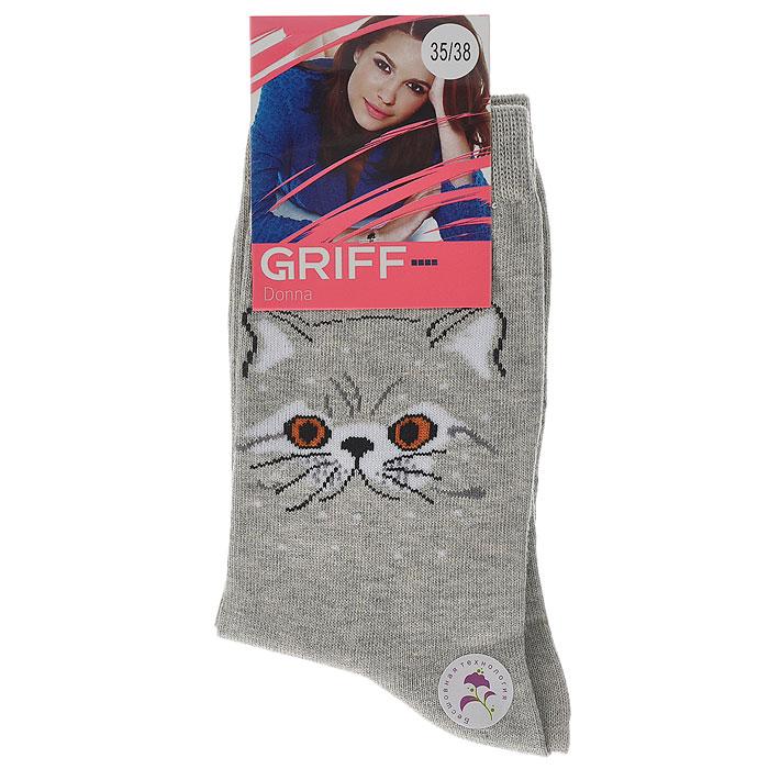 Носки женские Griff Кот, цвет: светло-серый. D0C3. Размер 39/41D0C3Носки, изготовленные из высококачественного сырья с применением передовых технологий, идеально подойдут к одежде свободного стиля. Комфортная резинка не сдавливает ногу.