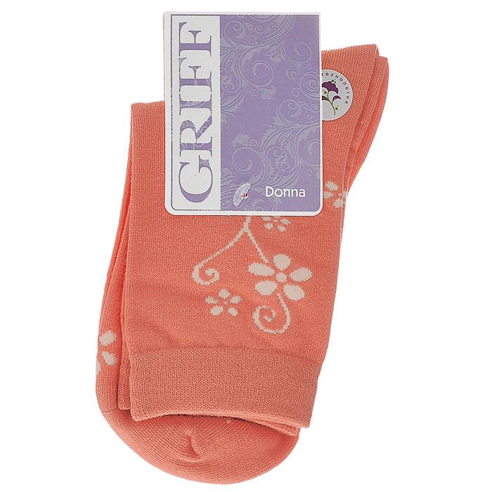Носки женские Griff Цветок, цвет: коралловый. D263. Размер 39/41D263Женские носки Griff Цветок изготовлены из высококачественного сырья. Носки очень мягкие на ощупь, а широкая резинка плотно облегает ногу, не сдавливая ее, благодаря чему вам будет комфортно и удобно. Усиленная пятка и мысок обеспечивают надежность и долговечность.Носки оформлены цветочным орнаментом.