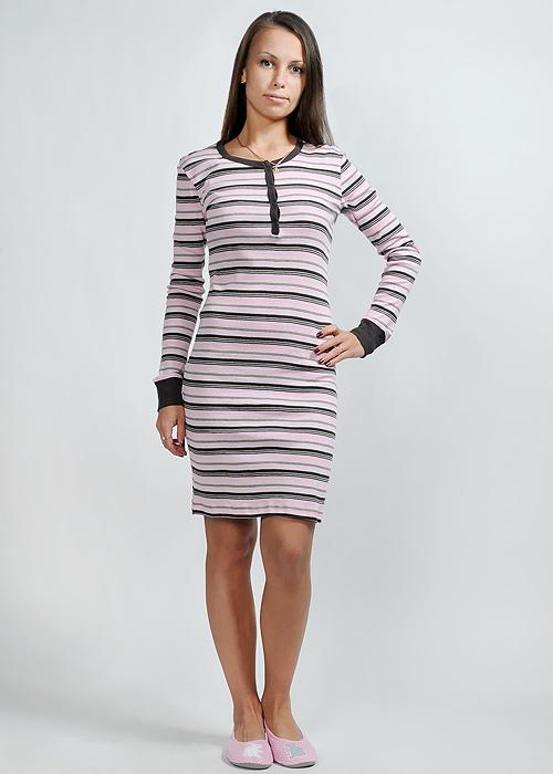 Платье домашнее Lowry, цвет: розовый, коричневый. LDN-64. Размер XXL (50/52)