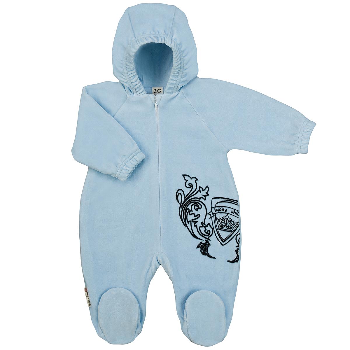 Комбинезон детский Lucky Child, цвет: голубой. 5-4. Размер 56/625-4Детский комбинезон с капюшоном Lucky Child - очень удобный и практичный вид одежды для малышей. Комбинезон выполнен из велюра на подкладке из натурального хлопка, благодаря чему он необычайно мягкий и приятный на ощупь, не раздражают нежную кожу ребенка и хорошо вентилируются, а эластичные швы приятны телу малышки и не препятствуют ее движениям. Комбинезон с длинными рукавами-реглан и закрытыми ножками по центру имеет потайную застежку-молнию, которая помогает легко переодеть младенца или сменить подгузник. Спереди он оформлен оригинальным принтом в виде логотипа бренда. Рукава понизу дополнены неширокими эластичными манжетами, которые мягко обхватывают запястья. С детским комбинезоном Lucky Child спинка и ножки вашего малыша всегда будут в тепле. Комбинезон полностью соответствует особенностям жизни младенца в ранний период, не стесняя и не ограничивая его в движениях!