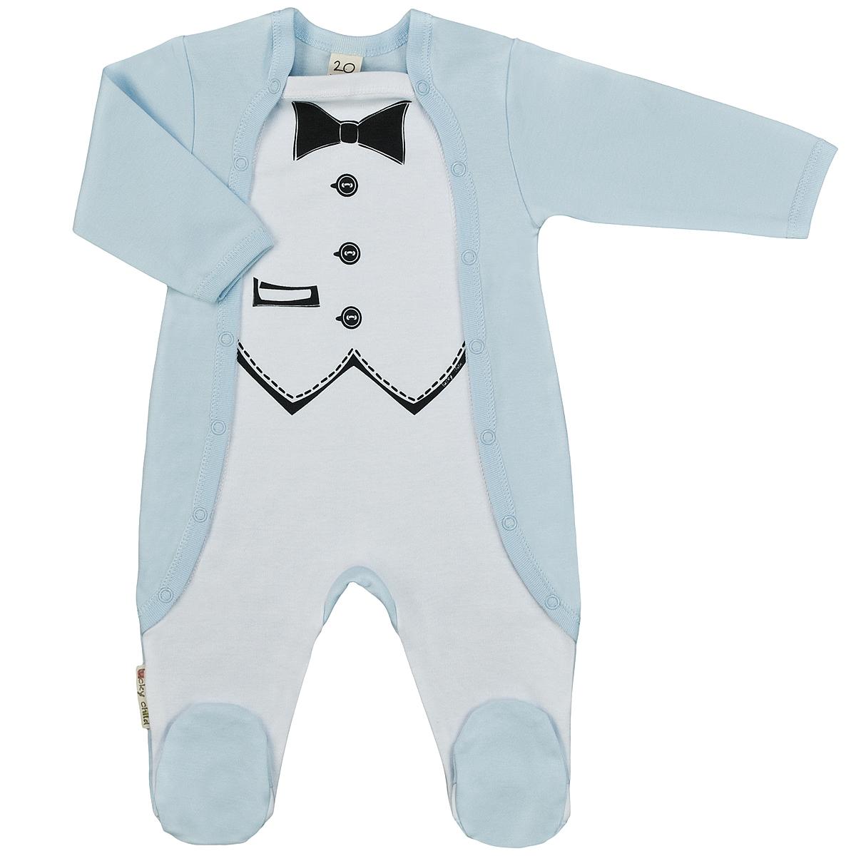 Комбинезон для мальчика Lucky Child, цвет: голубой, белый. 3-22. Размер 80/863-22Детский комбинезон для мальчика Lucky Child - очень удобный и практичный вид одежды для малышей. Комбинезон выполнен из интерлока - натурального хлопка, благодаря чему он необычайно мягкий и приятный на ощупь, не раздражают нежную кожу ребенка и хорошо вентилируются, а эластичные швы приятны телу малыша и не препятствуют его движениям. Комбинезон с длинными рукавами и закрытыми ножками имеет застежки-кнопки по бокам от горловины до щиколоток, которые помогают легко переодеть младенца или сменить подгузник. Спереди он оформлен оригинальным принтом, имитирующим фрак с бабочкой. С детским комбинезоном Lucky Child спинка и ножки вашего малыша всегда будут в тепле, он идеален для использования днем и незаменим ночью. Комбинезон полностью соответствует особенностям жизни младенца в ранний период, не стесняя и не ограничивая его в движениях!