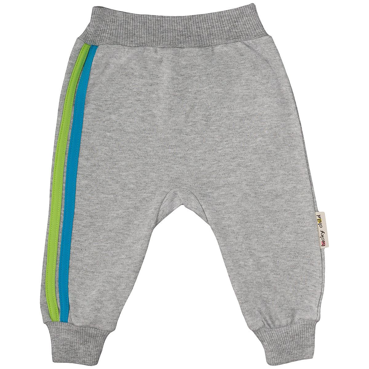 Штанишки на широком поясе Lucky Child, цвет: серый, голубой. 1-14. Размер 86/92
