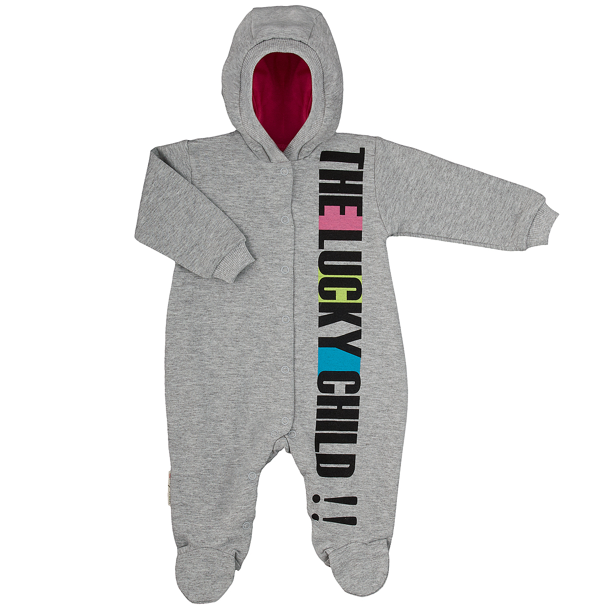 Комбинезон детский Lucky Child, цвет: серый, розовый. 1-3. Размер 50/561-3Детский комбинезон с капюшоном Lucky Child - очень удобный и практичный вид одежды для малышей. Комбинезон выполнен из натурального хлопка, благодаря чему он необычайно мягкий и приятный на ощупь, не раздражают нежную кожу ребенка и хорошо вентилируются, а эластичные швы приятны телу малыша и не препятствуют его движениям. Комбинезон с длинными рукавами и закрытыми ножками имеет застежки-кнопки по центру от горловины до щиколоток, которые помогают легко переодеть младенца или сменить подгузник. Спереди он оформлен оригинальным принтом в виде надписи The Lucky Child!!. Рукава понизу дополнены широкими трикотажными манжетами, не перетягивающими запястья. С детским комбинезоном Lucky Child спинка и ножки вашего малыша всегда будут в тепле, он идеален для использования днем и незаменим ночью. Комбинезон полностью соответствует особенностям жизни младенца в ранний период, не стесняя и не ограничивая его в движениях!