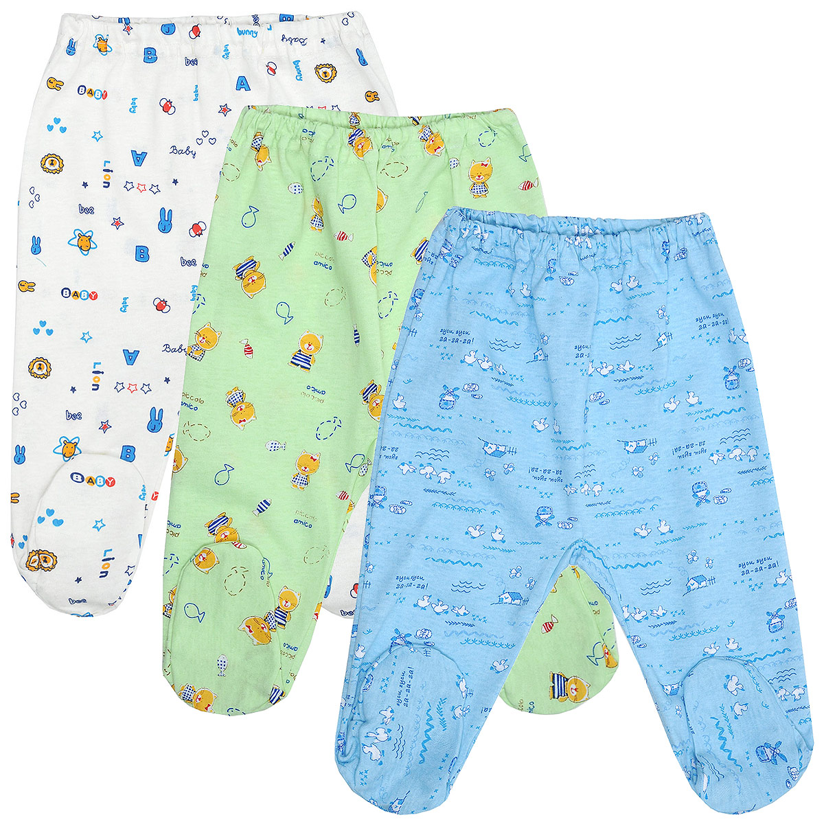 Комплект ползунков для мальчика Фреш стайл, 3 цвета, шт. 10-506м. Размер 62, до месяцев