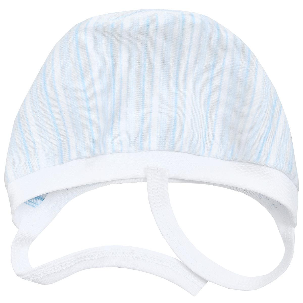 Чепчик Фреш Стайл, цвет: голубой в полоску. 39-123. Размер 44, 0-3 года
