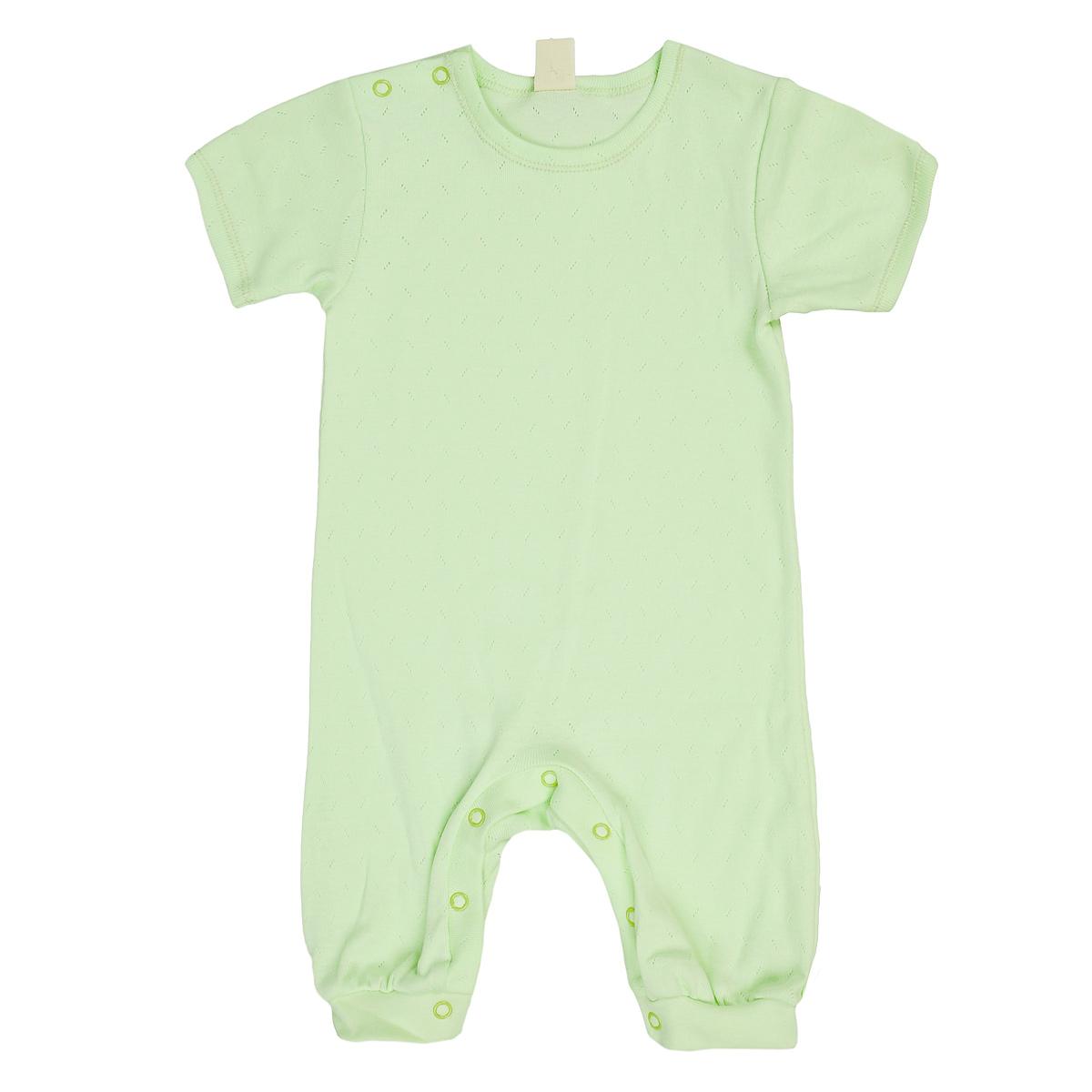 Песочник детский Lucky Child, цвет: светло-зеленый. 0-28. Размер 62/680-28Песочник Lucky Child, изготовленный из натурального хлопка, очень мягкий и приятный на ощупь, не раздражает даже самую нежную и чувствительную кожу ребенка, обеспечивая ему наибольший комфорт. Благодаря натуральному материалу песочник не сковывает движения младенца и позволяет коже дышать. Песочник с короткими рукавами, застегивается на кнопки по плечу и на ластовице, что облегчает процесс переодевания ребенка и смену подгузника. Эластичные швы приятны телу и не препятствуют движениям ребенка.Такое песочник, несомненно, понравится вашей малютке и станет отличным дополнением к детскому гардеробу!
