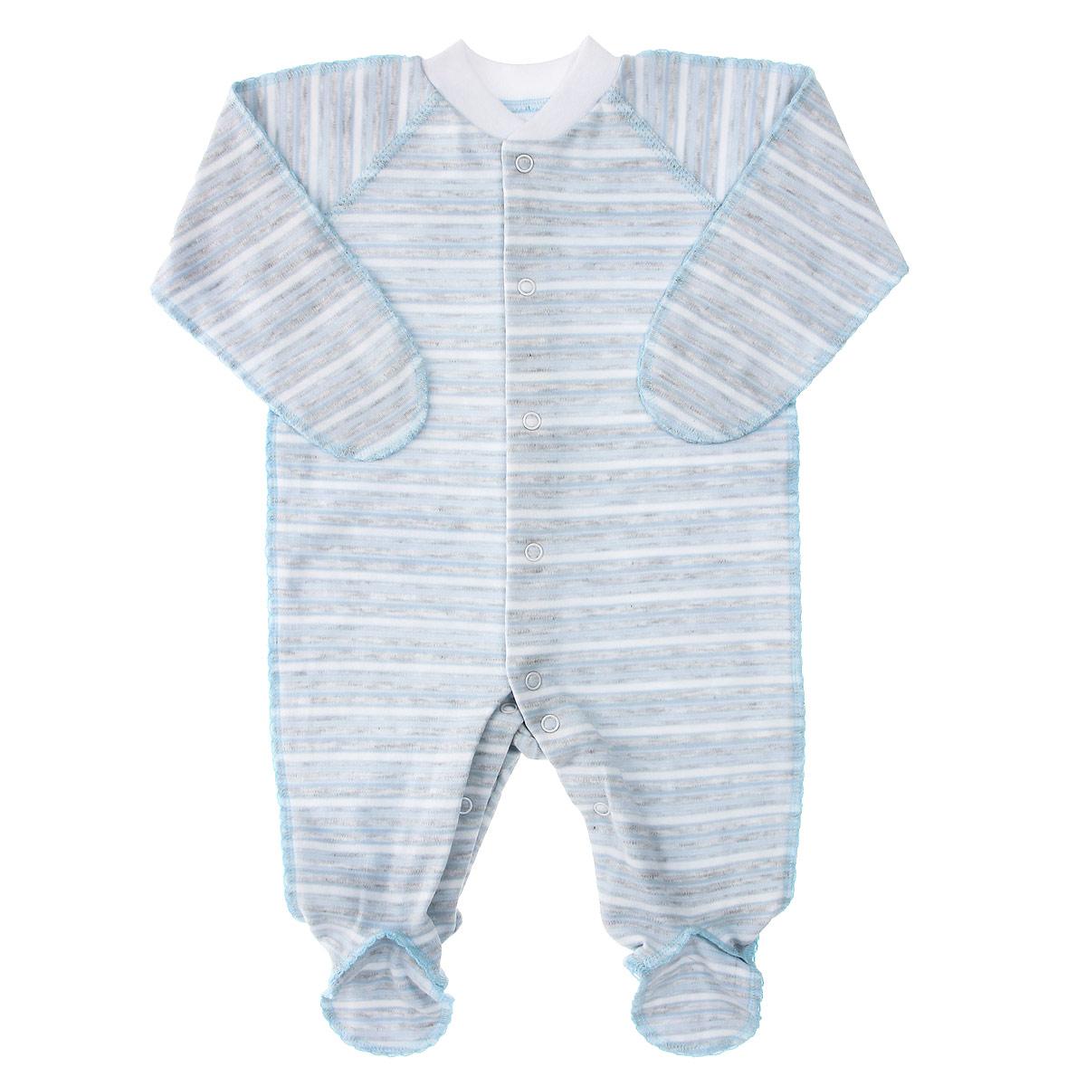 Комбинезон детский Фреш стайл, цвет: голубой, серый, белый. 39-523. Размер 20, 62 см, до 3 месяцев39-523Комбинезон Фреш Стайл станет идеальным дополнением к гардеробу вашего ребенка. Выполненный из натурального хлопка, он необычайно мягкий и приятный на ощупь, не раздражают нежную кожу ребенка и хорошо вентилируется. Комбинезон с длинными рукавами, закрытыми ножками и воротником-стойкой застегиваются спереди на кнопки по всей длине и на ластовице, что облегчает переодевание ребенка и смену подгузника. Горловина дополнена эластичной резинкой. Благодаря рукавичкам ребенок не поцарапает себя.Оригинальное сочетание тканей и забавный рисунок делают этот предмет детской одежды оригинальным и стильным.