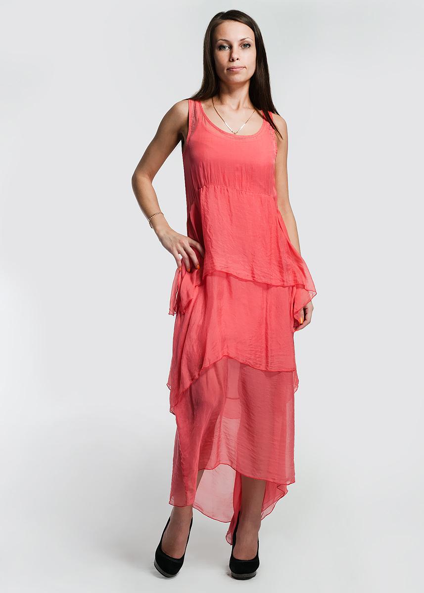 Платье KAOS, цвет: коралловый. C202MD. Размер M (42/44)C202MDОчаровательное платье KAOS выполнено из легкого полупрозрачного шелка. Под платье одевается чехол на тонких бретельках из плотного трикотажа.Модель выразительно подчеркнет вашу женственность и красоту.
