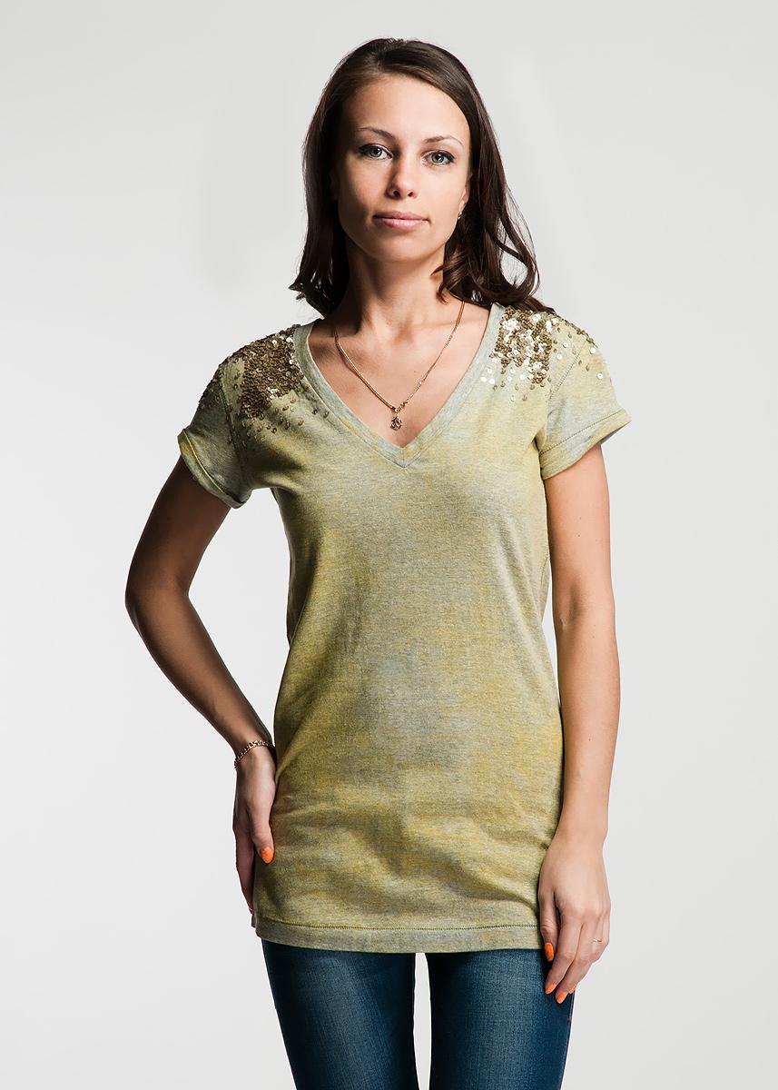 Футболка с коротким рукавом женская RARE, цвет: болотный. 22DMC0005 J112M. Размер XS (38/40)22DMC0005 J112MОригинальная женская футболка будет прекрасным дополнением к вашему гардеробу. Изготовлена из плотного трикотажа, очень приятного на ощупь. V-образный вырез горловины декорирован густой нашивкой из пайеток, которая так же захватывает рукавчики. Швы на рукавах с маленькими отворотами и вдоль линии низа дополняют широкие стежки. На спине выполнена стилизованная надпись бренда.Эта футболка отлично дополнит ваш образ и позволит выделиться из толпы.