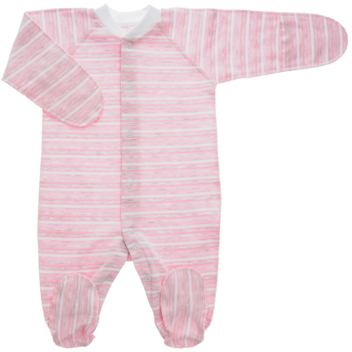 Комбинезон детский Фреш стайл, цвет: розовый, серый, белый. 39-523. Размер 20, 62 см, до 3 месяцев39-523Комбинезон Фреш Стайл станет идеальным дополнением к гардеробу вашего ребенка. Выполненный из натурального хлопка, он необычайно мягкий и приятный на ощупь, не раздражают нежную кожу ребенка и хорошо вентилируется. Комбинезон с длинными рукавами, закрытыми ножками и воротником-стойкой застегиваются спереди на кнопки по всей длине и на ластовице, что облегчает переодевание ребенка и смену подгузника. Горловина дополнена эластичной резинкой. Благодаря рукавичкам ребенок не поцарапает себя.Оригинальное сочетание тканей и забавный рисунок делают этот предмет детской одежды оригинальным и стильным.