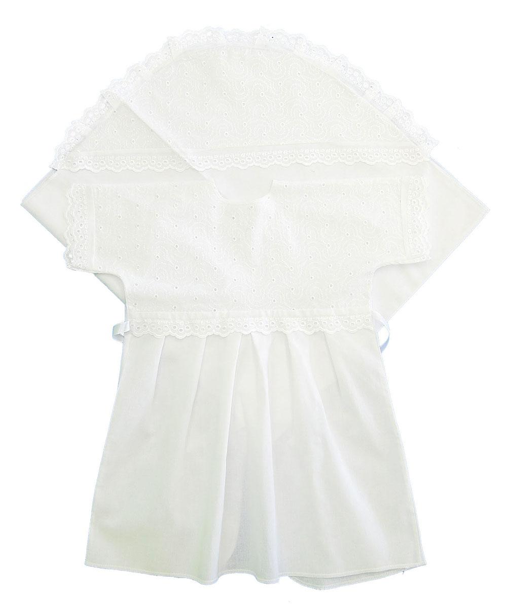 Комплект для крещения детский Трон-плюс: рубашка, пеленка, цвет: белый. 1402. Размер 68, 6 месяцев1402Великолепный комплект для крещения Трон-плюс состоит из рубашки и пеленки с капюшоном. Изготовленный из натурального хлопка, он необычайно мягкий и приятный на ощупь, не сковывает движения младенца и позволяет коже дышать, не раздражает нежную кожу ребенка, обеспечивая ему наибольший комфорт. Рубашечка с запахом сзади и цельнокроенными рукавами имеет полочку на кокетке, отделанную средним шитьем. От линии талии заложены складки. Полочка и край рукавов оформлены ажурными рюшами. Спереди рубашка украшена вышивкой. Завязывается рубашка с помощью атласного пояска.Уголок с капюшоном позволяет полностью завернуть малыша после купания. Капюшон украшен ажурными рюшами и вышивкой.Такой комплект станет незаменимым для обряда Крещения и поможет сделать его запоминающимся.