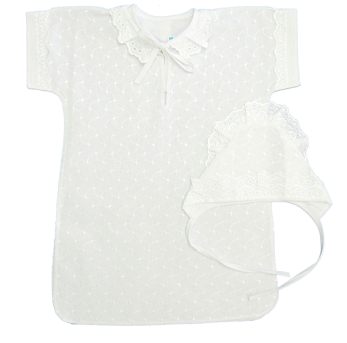 Комплект для крещения детский Трон-плюс: рубашка, чепчик, цвет: белый. 1403. Размер 62, 3 месяца1403Великолепный комплект для крещения Трон-плюс состоит из рубашки и чепчика. Изготовленный из натурального хлопка, он необычайно мягкий и приятный на ощупь, не сковывает движения младенца и позволяет коже дышать, не раздражает нежную кожу ребенка, обеспечивая ему наибольший комфорт. Рубашечка прямого кроя с короткими цельнокроенными рукавами спереди украшена вышивкой. Вырез горловины дополнен завязками и украшен ажурными рюшами. Край рукавов также украшен ажурными рюшами. Низ изделия по бокам дополнен двумя разрезами. Мягкий чепчик необходим любому младенцу, он защищает еще не заросший родничок, щадит чувствительный слух малыша, прикрывая ушки, и предохраняет от теплопотерь. Чепчик украшен вышивкой, ажурными рюшами. Затылочная часть рюшей изи широкого шитья. Такой комплект станет незаменимым для обряда Крещения и поможет сделать его запоминающимся.