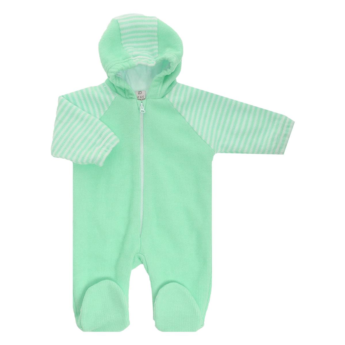 Комбинезон детский Lucky Child, цвет: зеленый, белая полоска. 4-13. Размер 74/804-13Детский вязаный комбинезон с капюшоном Lucky Child - очень удобный и практичный вид одежды для малышей. Комбинезон выполнен из натурального хлопка, на подкладке также используется натуральный хлопок, благодаря чему он необычайно мягкий и приятный на ощупь, не раздражают нежную кожу ребенка и хорошо вентилируются, а эластичные швы приятны телу малыша и не препятствуют его движениям. Комбинезон с длинными рукавами-реглан и закрытыми ножками имеет пластиковую застежку-молнию по центру, которая помогает легко переодеть младенца. Рукава понизу дополнены неширокими эластичными манжетами, не перетягивающими запястья. С детским комбинезоном Lucky Child спинка и ножки вашего малыша всегда будут в тепле. Комбинезон полностью соответствует особенностям жизни младенца в ранний период, не стесняя и не ограничивая его в движениях!