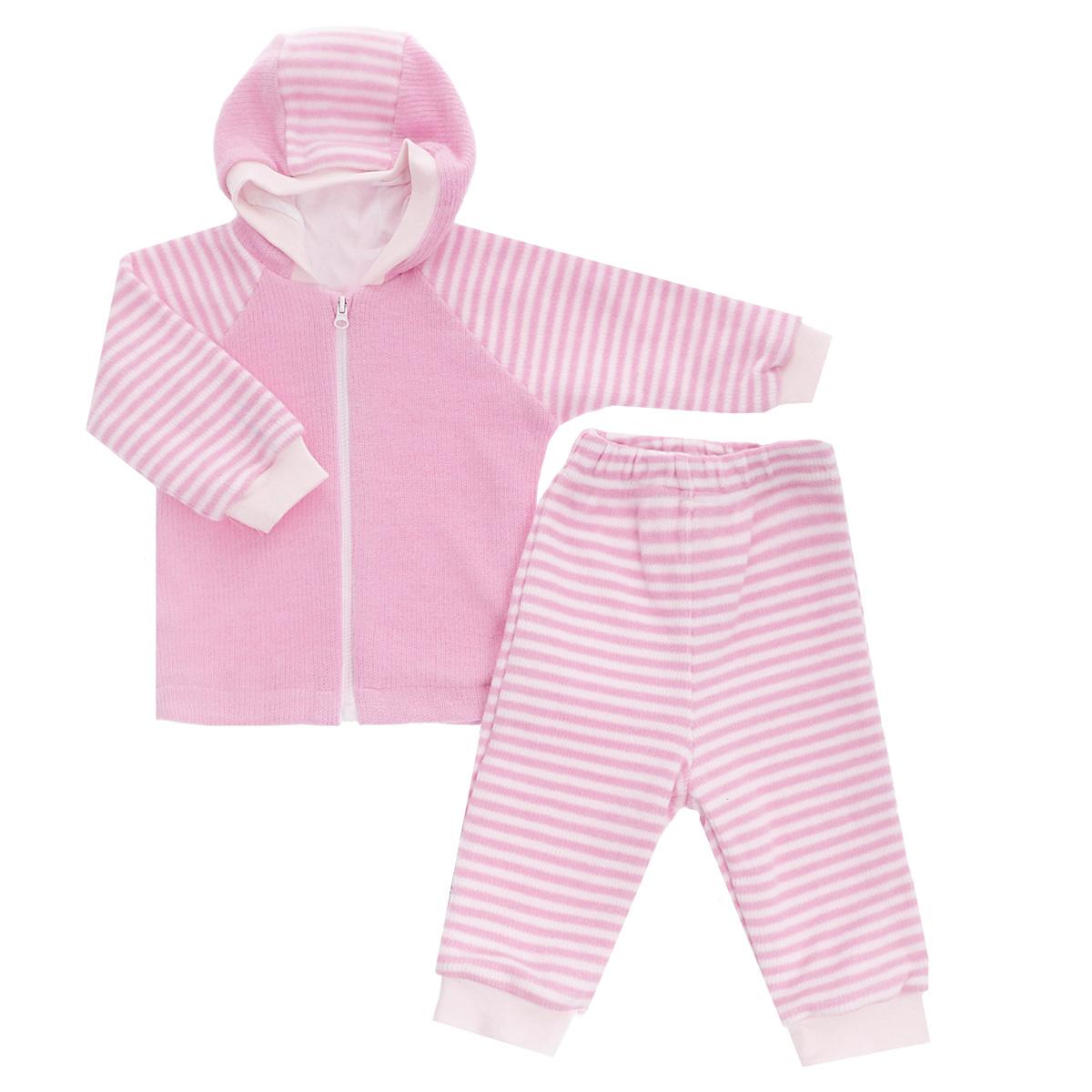 Комплект детский Lucky Child: кофта, брюки, цвет: розовый, белая полоска. 4-15. Размер 62/684-15Детский вязаный комплект Lucky Child, состоящий из кофты и брюк - очень удобный и практичный. Комплект выполнен из натурального хлопка, на подкладке также используется натуральный хлопок, благодаря чему он необычайно мягкий и приятный на ощупь, не раздражают нежную кожу ребенка и хорошо вентилируются, а эластичные швы приятны телу малыша и не препятствуют его движениям. Кофта с капюшоном и длинными рукавами-реглан застегивается на пластиковую застежку-молнию. Рукава понизу дополнены широкими трикотажными манжетами, не перетягивающими запястья. Брюки прямого покроя на талии имеют широкую эластичную резинку, благодаря чему они не сдавливают животик ребенка и не сползают. Понизу штанины также дополнены широкими трикотажными манжетами. Комплект идеален как самостоятельная верхняя одежда прохладным летом или ранней осенью. Комплект полностью соответствует особенностям жизни малыша, не стесняя и не ограничивая его в движениях!