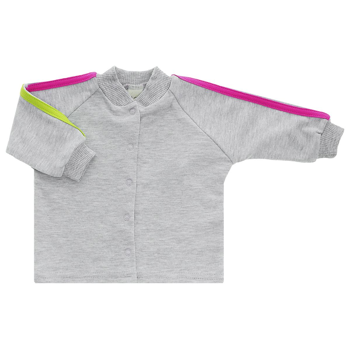 Кофточка детская Lucky Child, цвет: серый, розовый. 1-16. Размер 62/681-16Кофточка для новорожденного Lucky Child с длинными рукавами-реглан послужит идеальным дополнением к гардеробу вашего малыша, обеспечивая ему наибольший комфорт. Изготовленная из интерлока - натурального хлопка, она необычайно мягкая и легкая, не раздражает нежную кожу ребенка и хорошо вентилируется, а эластичные швы приятны телу малыша и не препятствуют его движениям. Удобные застежки-кнопки по всей длине помогают легко переодеть младенца. Рукава понизу дополнены широкими трикотажными манжетами, не стягивающими запястья. Кофточка полностью соответствует особенностям жизни ребенка в ранний период, не стесняя и не ограничивая его в движениях. В ней ваш малыш всегда будет в центре внимания.