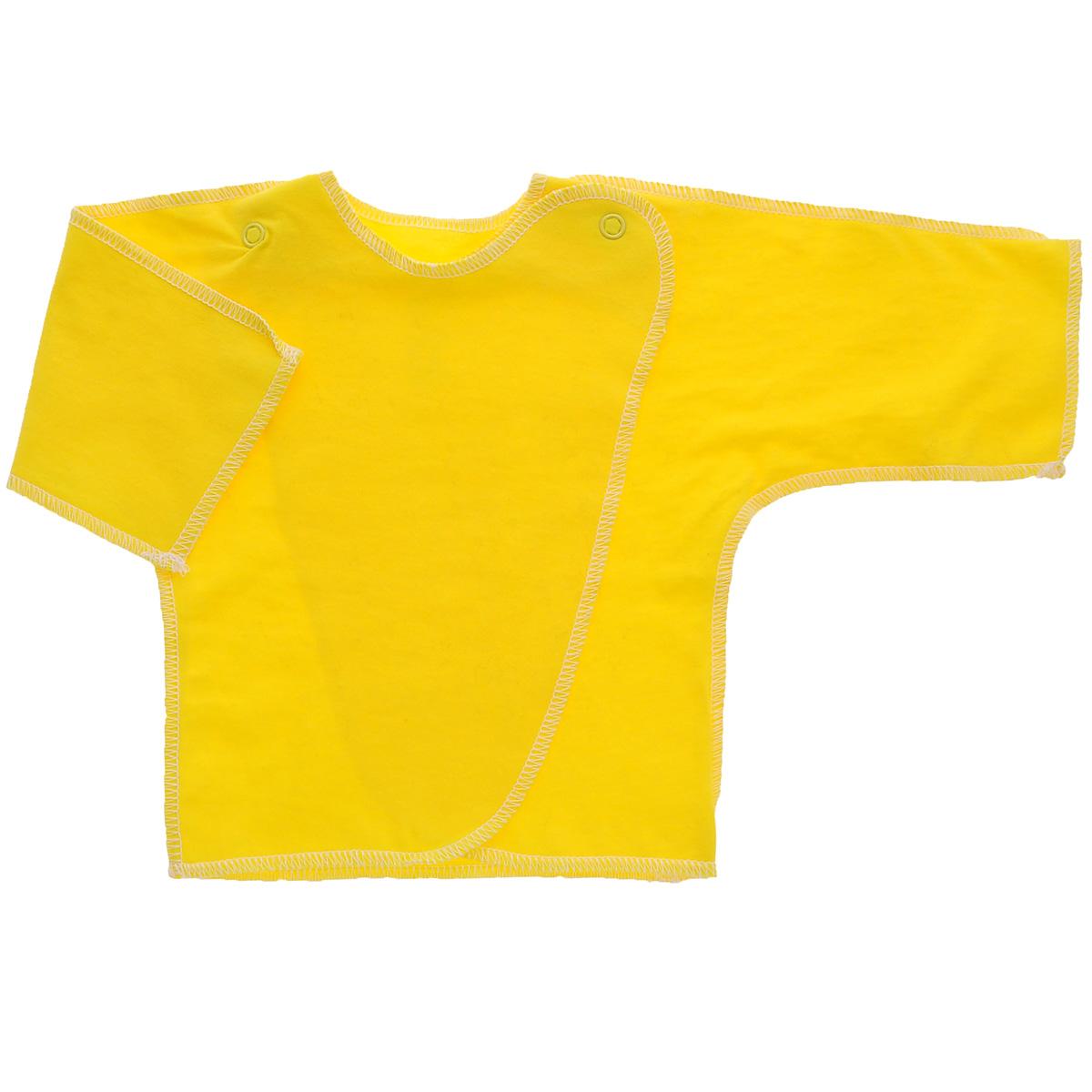 Распашонка Трон-плюс, цвет: желтый. 5002. Размер 56, 1 месяц5002Распашонка для мальчика Трон-плюс послужит идеальным дополнением к гардеробу вашего малыша. Распашонка изготовлена из натурального хлопка, благодаря чему она необычайно мягкая и легкая, не раздражает нежную кожу ребенка и хорошо вентилируется, а эластичные швы приятны телу малыша и не препятствуют его движениям. Распашонка с запахом, застегивается при помощи двух кнопок на плечах, которые позволяют без труда переодеть ребенка.