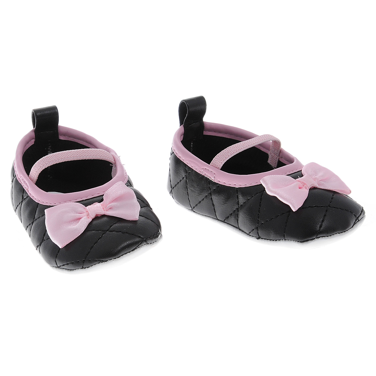 Пинетки для девочки Luvable Friends Стеганые балетки Мэри, цвет: черный. 11165. Размер 0/6мес