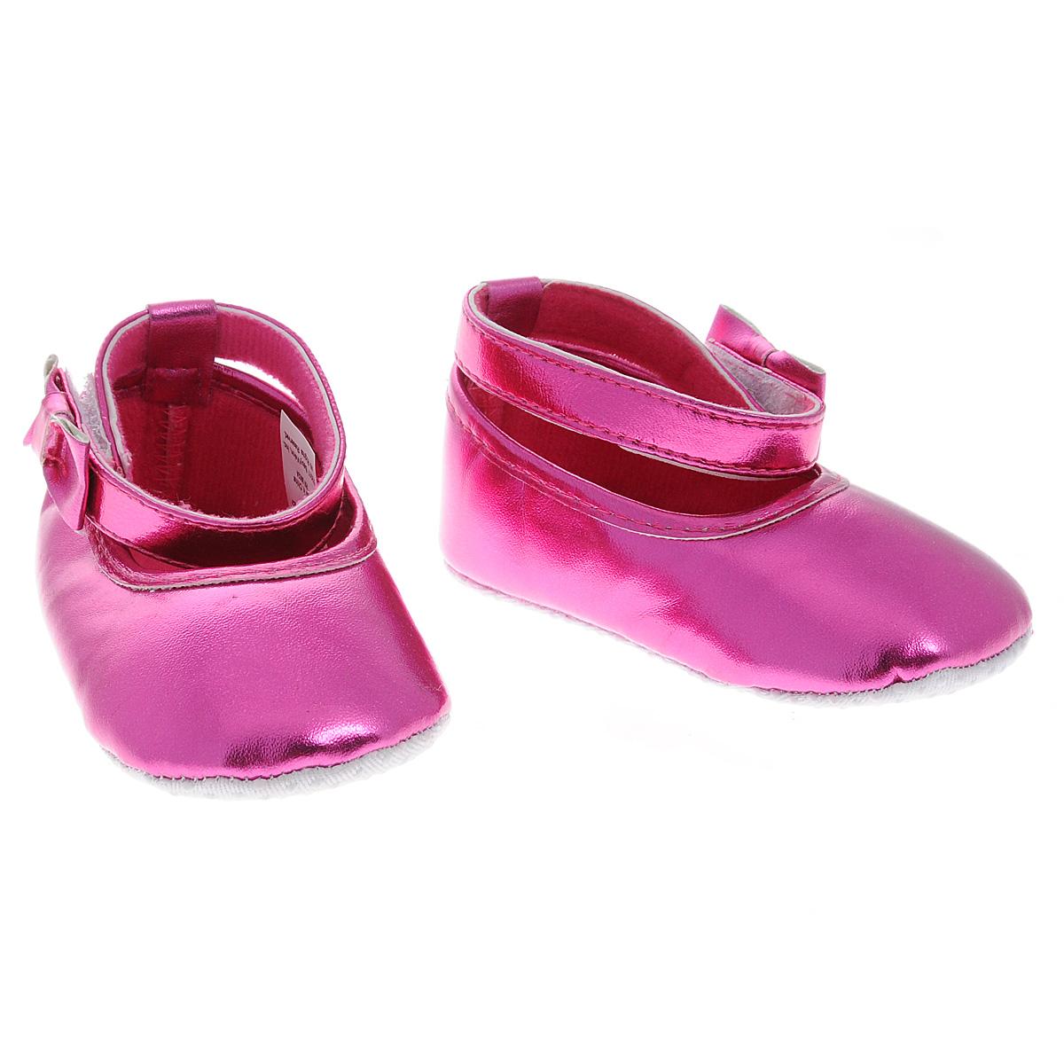 Пинетки для девочки Luvable Friends Балетки с бантиком, цвет: малиновый. 11153. Размер 12/18мес11153Оригинальные детские пинетки для девочки Luvable Friends, стилизованные под Балетки - это легкая и удобная обувь для малышей. Удобная застежка на липучке сбоку, декорированная очаровательным бантиком и надежно фиксирующая пинетки на ножке малышки, мягкие, не сдавливающие ножку материалы делают модель практичной и популярной. Стопа оформлена прорезиненным рельефным рисунком, благодаря которому ребенок не будет скользить.Такие пинетки - отличное решение для малышей и их родителей!