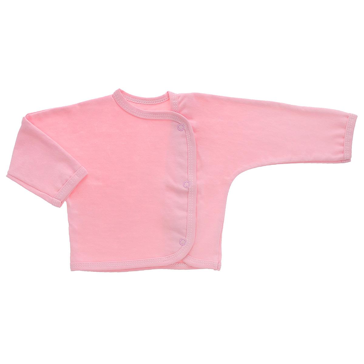 Кофточка Трон-плюс, цвет: розовый. 5153. Размер 56, 1 месяц5153Кофточка с длинными рукавами Трон-плюс послужит идеальным дополнением к гардеробу младенца. Кофточка выполнена из кулирного полотна - натурального хлопка, благодаря чему она необычайно мягкая и легкая, не раздражает нежную кожу ребенка и хорошо вентилируется, а эластичные швы приятны телу малыша и не препятствуют его движениям. Кофточка застегивается спереди по всей длине при помощи кнопок, позволяют без труда переодеть ребенка.