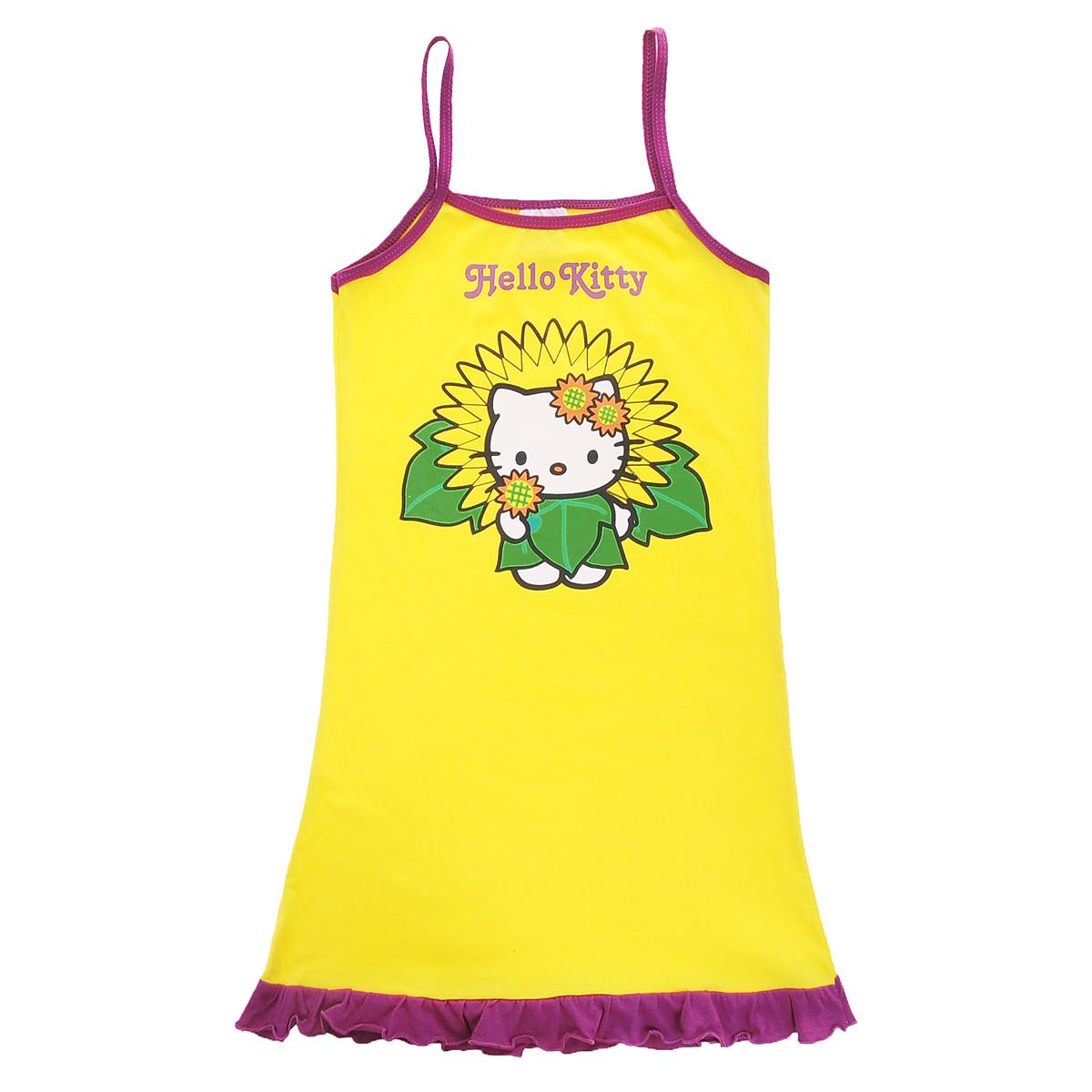 Сорочка для девочки Hello Kitty, цвет: желтый, фиолетовый. 62PJ1. Размер 104/110, 4 года62PJ1Стильная сорочка для девочки Hello Kitty идеально подойдет вашей малышке и станет отличным дополнением к детскому гардеробу. Изготовленная из натурального хлопка, она необычайно мягкая и приятная на ощупь, не раздражает нежную кожу ребенка и хорошо вентилируется, а эластичные швы приятны телу малышки и не препятствуют ее движениям. Сорочка с тонкими бретелями и круглым вырезом горловины оформлена яркой термоаппликацией с изображением кошечки Китти и надписью Hello Kitty. Низ изделия украшен воздушной оборкой, гармонично дополняющей образ. Такая сорочка идеально подойдет вашей малышке, а мягкие полотна позволят маленькой принцессе комфортно чувствовать себя во время сна!