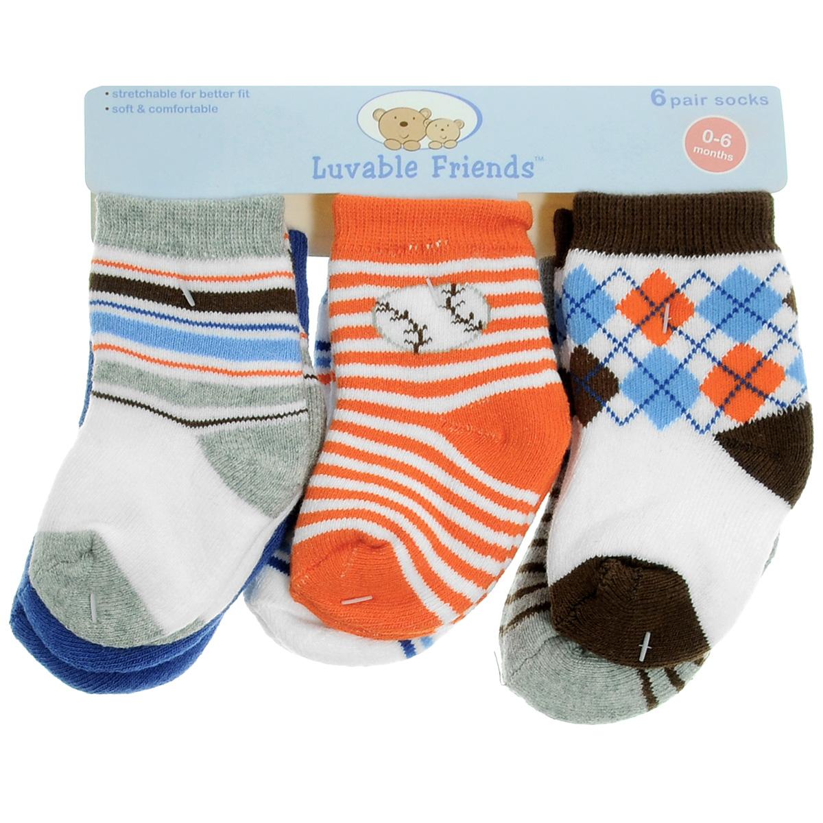 Носки детские Luvable Friends Яркий принт, цвет: синий, белый, серый, оранжевый, 6 пар. 26110. Размер 55/67, 0-6 месяцев26110Комфортные и прочные детские носки Luvable Friends Яркий принт, махровые внутри, очень мягкие на ощупь. Эластичная резинка плотно облегает ножку ребенка, не сдавливая ее, благодаря чему малышу будет комфортно и удобно. Комплект состоит из шести пар носочков с различной цветовой гаммой и притом.