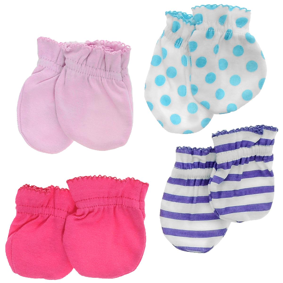 Рукавички для новорожденного Luvable Friends Радуга, цвет: розовый, сиреневый, белый, 4 пары. 34705. Размер 55/67, 0-6 месяцев34705Рукавички для новорожденного Luvable Friends Радуга, изготовленные из натурального хлопка, идеально подойдут вашему малышу и обеспечат ему комфорт во время сна и бодрствования, предохраняя нежную кожу новорожденного от расцарапывания.В комплект входят четыре пары рукавичек.