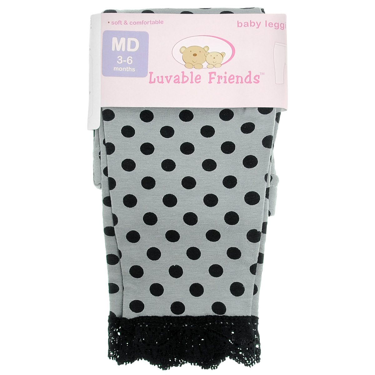 Леггинсы для девочки Luvable Friends Горошек, цвет: серый, черный. 32050. Размер 61/67, 3-6 месяцев
