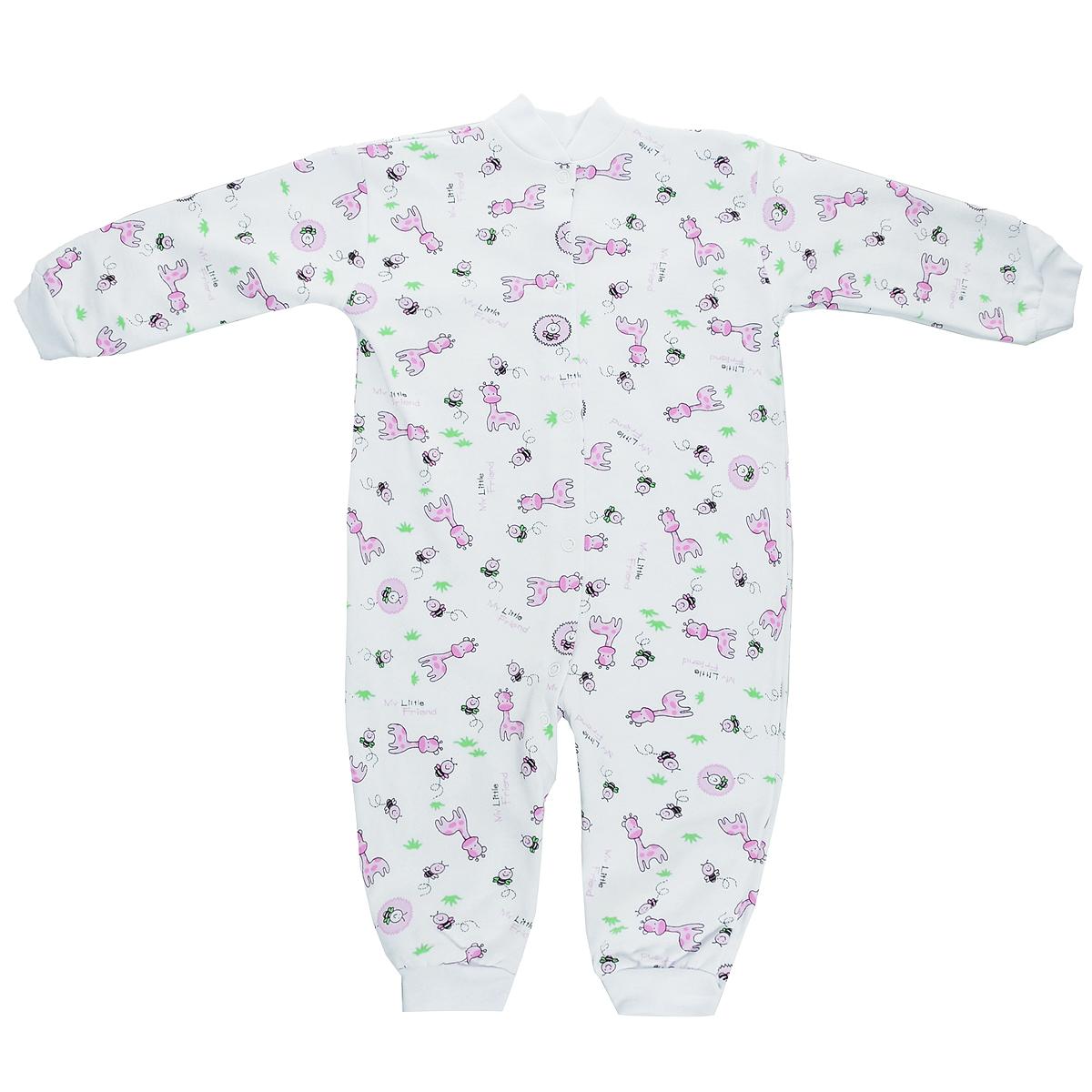 Комбинезон детский Трон-плюс, цвет: розовый, рисунок жирафа. 5823. Размер 56, 1 месяц5823Удобный детский комбинезон Трон-плюс послужит идеальным дополнением к гардеробу ребенка. Комбинезон изготовлен из натурального хлопка, благодаря чему он необычайно мягкий и легкий, не раздражает нежную кожу ребенка и хорошо вентилируется, а эластичные швы приятны телу малыша и не препятствуют его движениям. Комбинезон с небольшим воротником-стойкой, длинными рукавами и открытыми ножками имеет застежки-кнопки от горловины до щиколоток, которые помогают легко переодеть младенца или сменить подгузник. Низ рукавов и низ брючин дополнен эластичными широкими манжетами. Комбинезон оформлен ярким принтом с изображением забавных животных.С детским комбинезоном Трон-плюс спинка и ножки вашего ребенка всегда будут в тепле, он идеален для использования днем и незаменим ночью. Комбинезон полностью соответствует особенностям жизни младенца в ранний период, не стесняя и не ограничивая его в движениях!