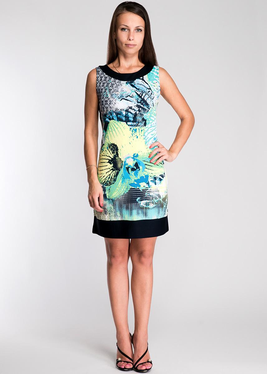 Платье Comma, цвет: черный, зеленый, желтый. 81.305.33.6755. Размер 34 (40)81.305.33.6755Модное платье, изготовленное из высококачественного материала, не сковывает движений, обеспечивая наибольший комфорт. Модель А-силуэта, без рукавов, с круглым вырезом горловины. Платье оформлено оригинальным принтовым узором. В этом платье вы будете чувствовать себя уютно и комфортно, оставаясь в центре внимания.