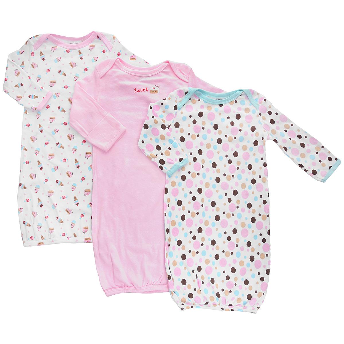 Сорочка детская Luvable Friends, цвет: розовый, белый, 3 шт. 33000. Размер 55/67, 0-6 месяцев сорочка детская царевич в москве