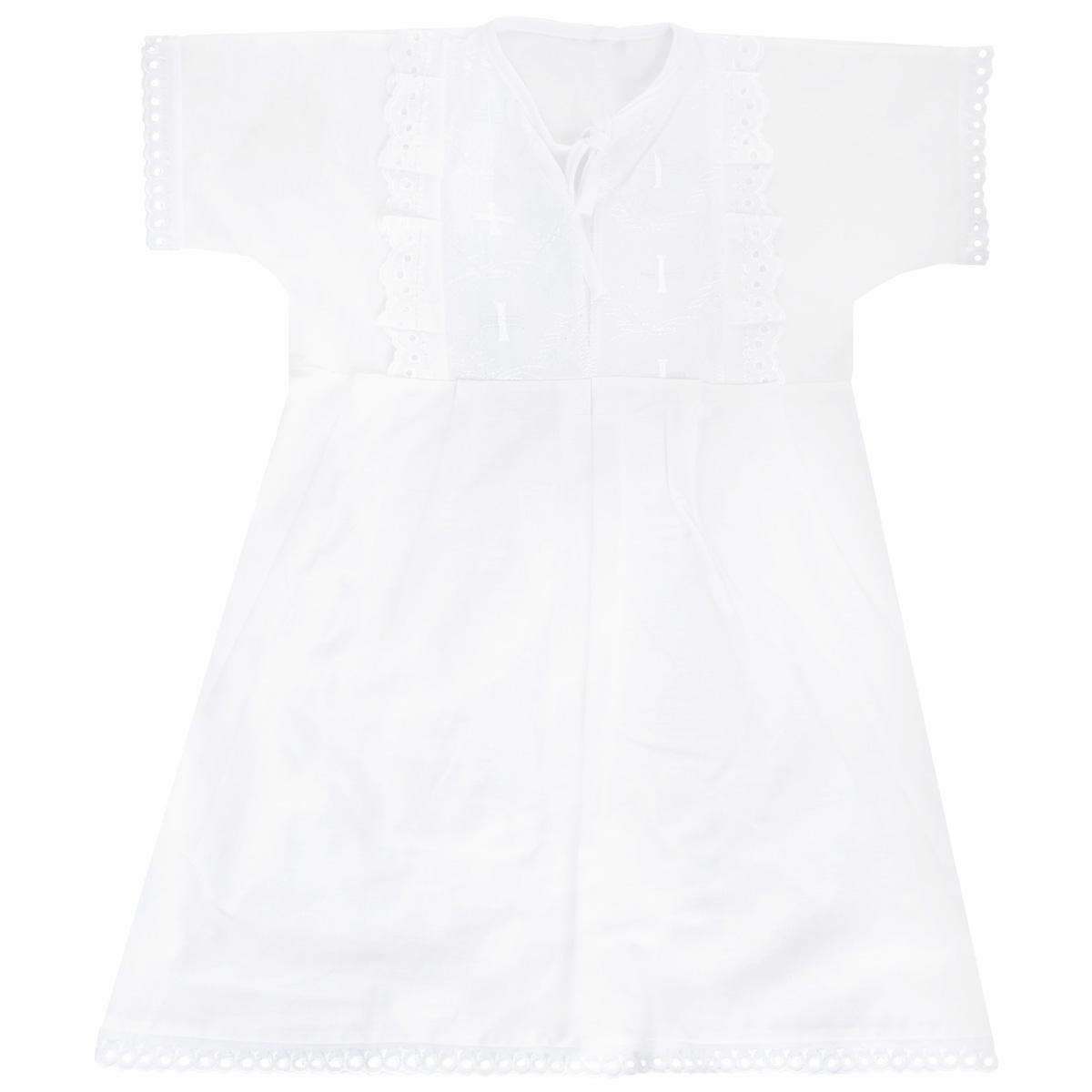 Крестильная рубашка для девочки Трон-плюс, цвет: белый. 1148. Размер 68, 6 месяцев1148Крестильная рубашка для девочки Трон-плюс, выполненная из натурального хлопка, идеально подойдет для крещения вашей малышки. Рубашка необычайно мягкая и приятная на ощупь, не сковывает движения и позволяет коже дышать, не раздражает нежную кожу ребенка, обеспечивая ему наибольший комфорт. Рубашка трапециевидной формы с короткими рукавами имеет две завязки на груди, которые помогают с легкостью переодеть младенца. На груди рубашечка украшена ажурными рюшами и вышивками. Низ рукавов и низ изделия оформлен ажурными петельками. От линии талии заложены складочки, придающие рубашке пышность.Благодаря такой рубашке ваша малышка не замерзнет, и будет выглядеть нарядно.