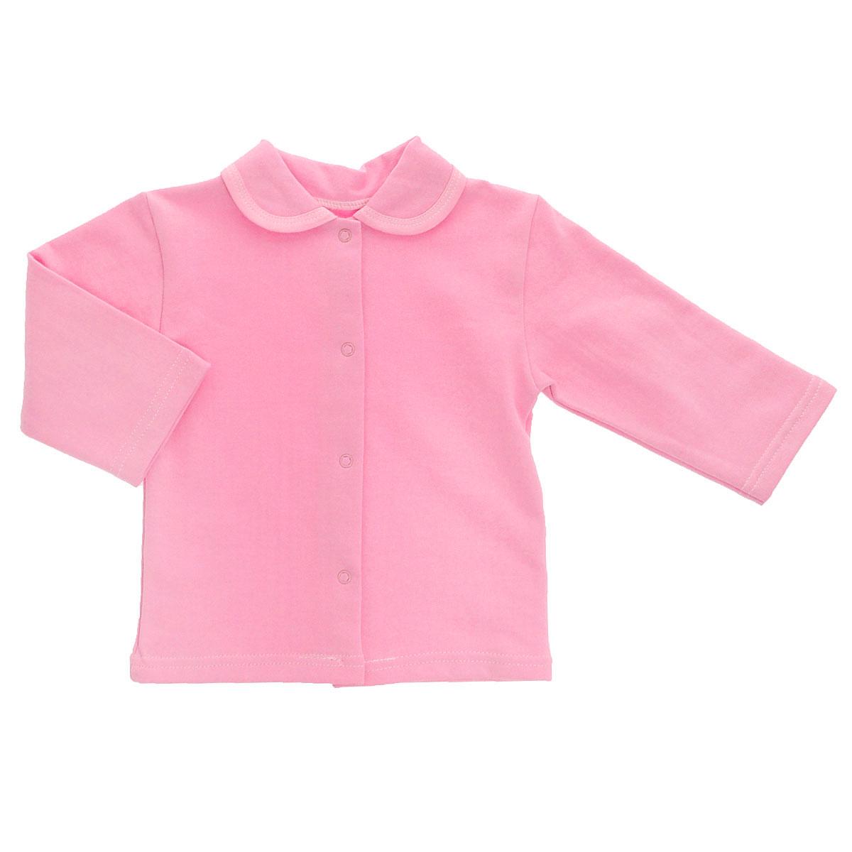 Кофточка детская Трон-плюс, цвет: розовый. 5175. Размер 74, 9 месяцев5175Кофточка для новорожденного Трон-плюс с длинными рукавами послужит идеальным дополнением к гардеробу вашего малыша, обеспечивая ему наибольший комфорт. Изготовленная из футерованного полотна - натурального хлопка, она необычайно мягкая и легкая, не раздражает нежную кожу ребенка и хорошо вентилируется, а эластичные швы приятны телу малыша и не препятствуют его движениям. Удобные застежки-кнопки по всей длине помогают легко переодеть младенца. Модель дополнена отложным воротником.Кофточка полностью соответствует особенностям жизни ребенка в ранний период, не стесняя и не ограничивая его в движениях.