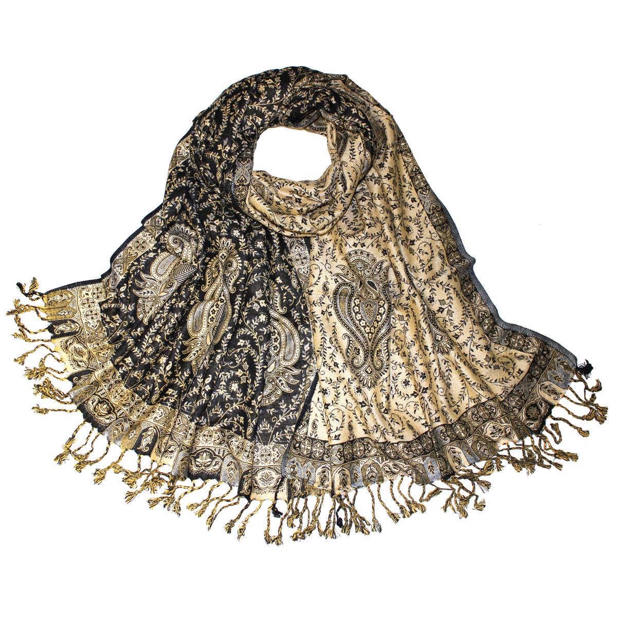 Шаль Ethnica, цвет: бежевый, черный, 71 см х 183 см. 112220н