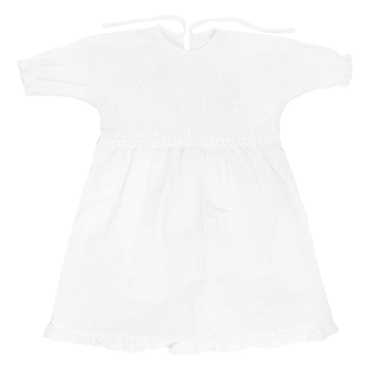 Крестильная рубашка для девочки Трон-плюс, цвет: белый. 1149. Размер 68, 6 месяцев1149Крестильная рубашка для девочки Трон-плюс, выполненная из натурального хлопка, идеально подойдет для крещения вашей малышки. Рубашка необычайно мягкая и приятная на ощупь, не сковывает движения и позволяет коже дышать, не раздражает нежную кожу ребенка, обеспечивая ему наибольший комфорт. Рубашка трапециевидной формы с рукавами-реглан имеет две завязки на спинке, которые помогают с легкостью переодеть младенца. На груди рубашечка украшена ажурными рюшами и вышивками. Низ рукавов дополнен эластичной резинкой, не сдавливающей запястья малышки, а низ изделия украшен очаровательной оборкой, придающей рубашечке пышность. От линии талии заложены складочки, придающие рубашке пышность.Благодаря такой рубашке ваша малышка не замерзнет, и будет выглядеть нарядно.