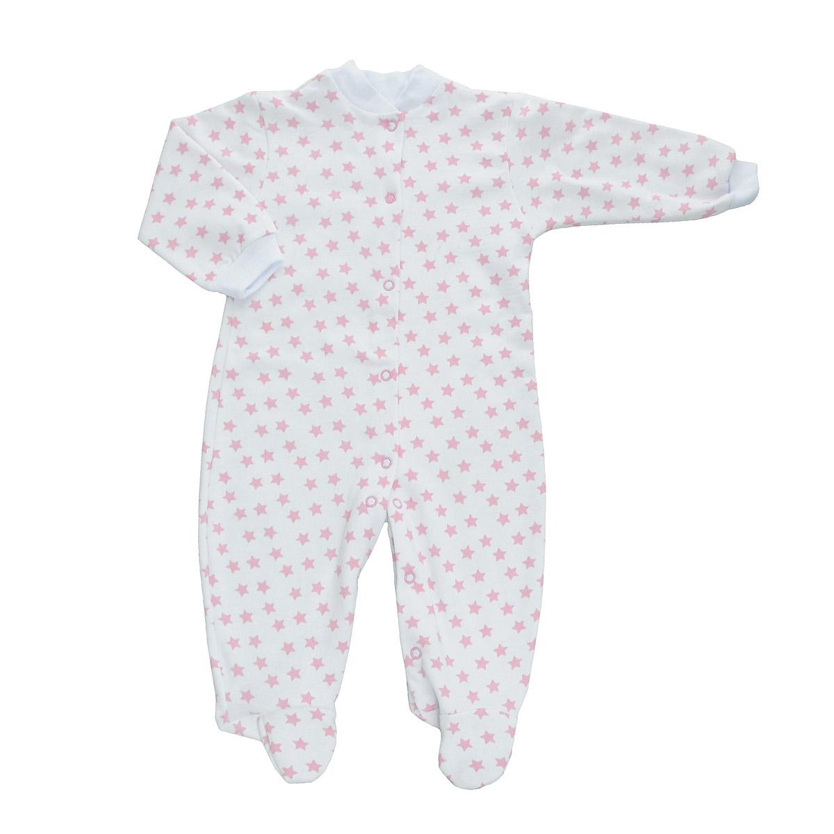 Комбинезон детский Трон-Плюс, цвет: белый, розовый, рисунок звезды. 5821. Размер 80, 12 месяцев5821Детский комбинезон Трон-Плюс - очень удобный и практичный вид одежды для малышей. Теплый комбинезон выполнен из футерованного полотна - натурального хлопка, благодаря чему он необычайно мягкий и приятный на ощупь, не раздражает нежную кожу ребенка, и хорошо вентилируются, а эластичные швы приятны телу малыша и не препятствуют его движениям. Комбинезон с длинными рукавами и закрытыми ножками имеет застежки-кнопки от горловины до щиколоток, которые помогают легко переодеть младенца или сменить подгузник. Рукава понизу дополнены неширокими трикотажными манжетами, мягко облегающими запястья. Вырез горловины дополнен мягкой трикотажной резинкой. Оформлен комбинезон оригинальным принтом. С детским комбинезоном спинка и ножки вашего малыша всегда будут в тепле, он идеален для использования днем и незаменим ночью. Комбинезон полностью соответствует особенностям жизни младенца в ранний период, не стесняя и не ограничивая его в движениях!