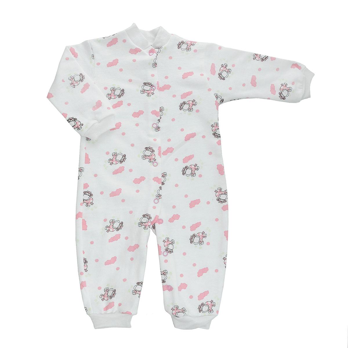 Комбинезон детский Трон-Плюс, цвет: белый, розовый, рисунок коровы. 5823. Размер 74, 9 месяцев5823Удобный детский комбинезон Трон-плюс послужит идеальным дополнением к гардеробу ребенка. Комбинезон изготовлен из натурального хлопка, благодаря чему он необычайно мягкий и легкий, не раздражает нежную кожу ребенка и хорошо вентилируется, а эластичные швы приятны телу малыша и не препятствуют его движениям. Комбинезон с небольшим воротником-стойкой, длинными рукавами и открытыми ножками имеет застежки-кнопки от горловины до щиколоток, которые помогают легко переодеть младенца или сменить подгузник. Низ рукавов и низ брючин дополнен эластичными широкими манжетами. Комбинезон оформлен ярким принтом с изображением забавных животных.С детским комбинезоном Трон-плюс спинка и ножки вашего ребенка всегда будут в тепле, он идеален для использования днем и незаменим ночью. Комбинезон полностью соответствует особенностям жизни младенца в ранний период, не стесняя и не ограничивая его в движениях!