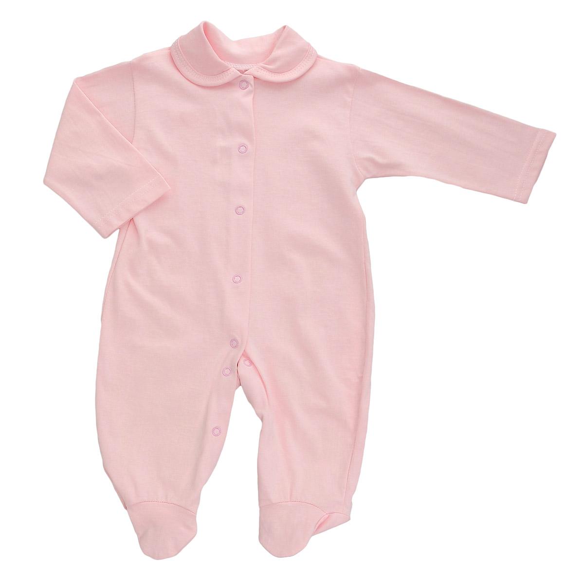 Комбинезон детский Трон-Плюс, цвет: розовый. 5805. Размер 68, 6 месяцев5805Детский комбинезон Трон-Плюс - очень удобный и практичный вид одежды для малышей. Комбинезон выполнен из кулирного полотна - натурального хлопка, благодаря чему он необычайно мягкий и приятный на ощупь, не раздражает нежную кожу ребенка, и хорошо вентилируются, а эластичные швы приятны телу малыша и не препятствуют его движениям. Комбинезон с длинными рукавами, закрытыми ножками и отложным воротничком имеет застежки-кнопки от горловины до щиколоток, которые помогают легко переодеть младенца или сменить подгузник. С детским комбинезоном спинка и ножки вашего малыша всегда будут в тепле, он идеален для использования днем и незаменим ночью. Комбинезон полностью соответствует особенностям жизни младенца в ранний период, не стесняя и не ограничивая его в движениях!