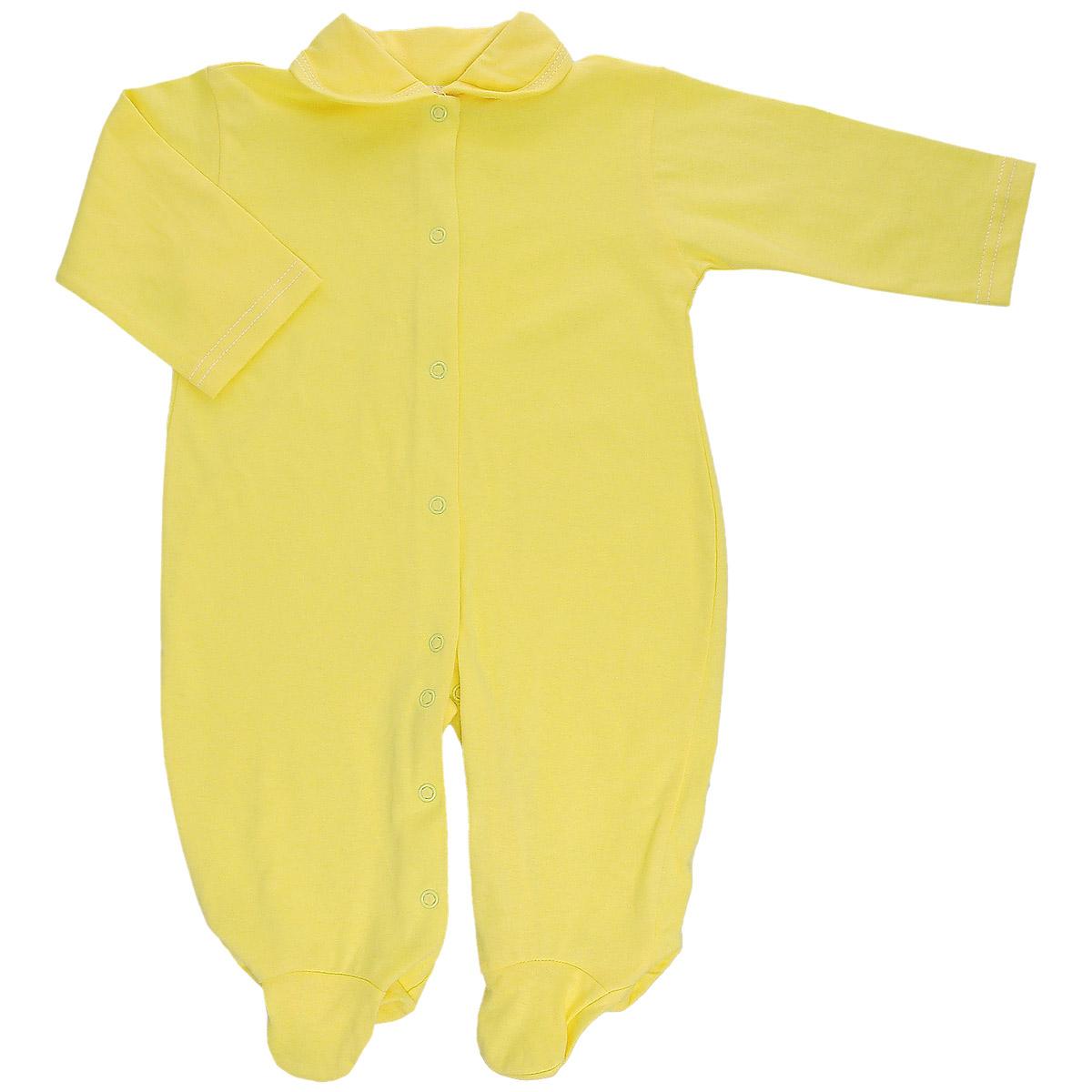 Комбинезон детский Трон-Плюс, цвет: желтый. 5805. Размер 80, 12 месяцев5805Детский комбинезон Трон-Плюс - очень удобный и практичный вид одежды для малышей. Комбинезон выполнен из кулирного полотна - натурального хлопка, благодаря чему он необычайно мягкий и приятный на ощупь, не раздражает нежную кожу ребенка, и хорошо вентилируются, а эластичные швы приятны телу малыша и не препятствуют его движениям. Комбинезон с длинными рукавами, закрытыми ножками и отложным воротничком имеет застежки-кнопки от горловины до щиколоток, которые помогают легко переодеть младенца или сменить подгузник. С детским комбинезоном спинка и ножки вашего малыша всегда будут в тепле, он идеален для использования днем и незаменим ночью. Комбинезон полностью соответствует особенностям жизни младенца в ранний период, не стесняя и не ограничивая его в движениях!