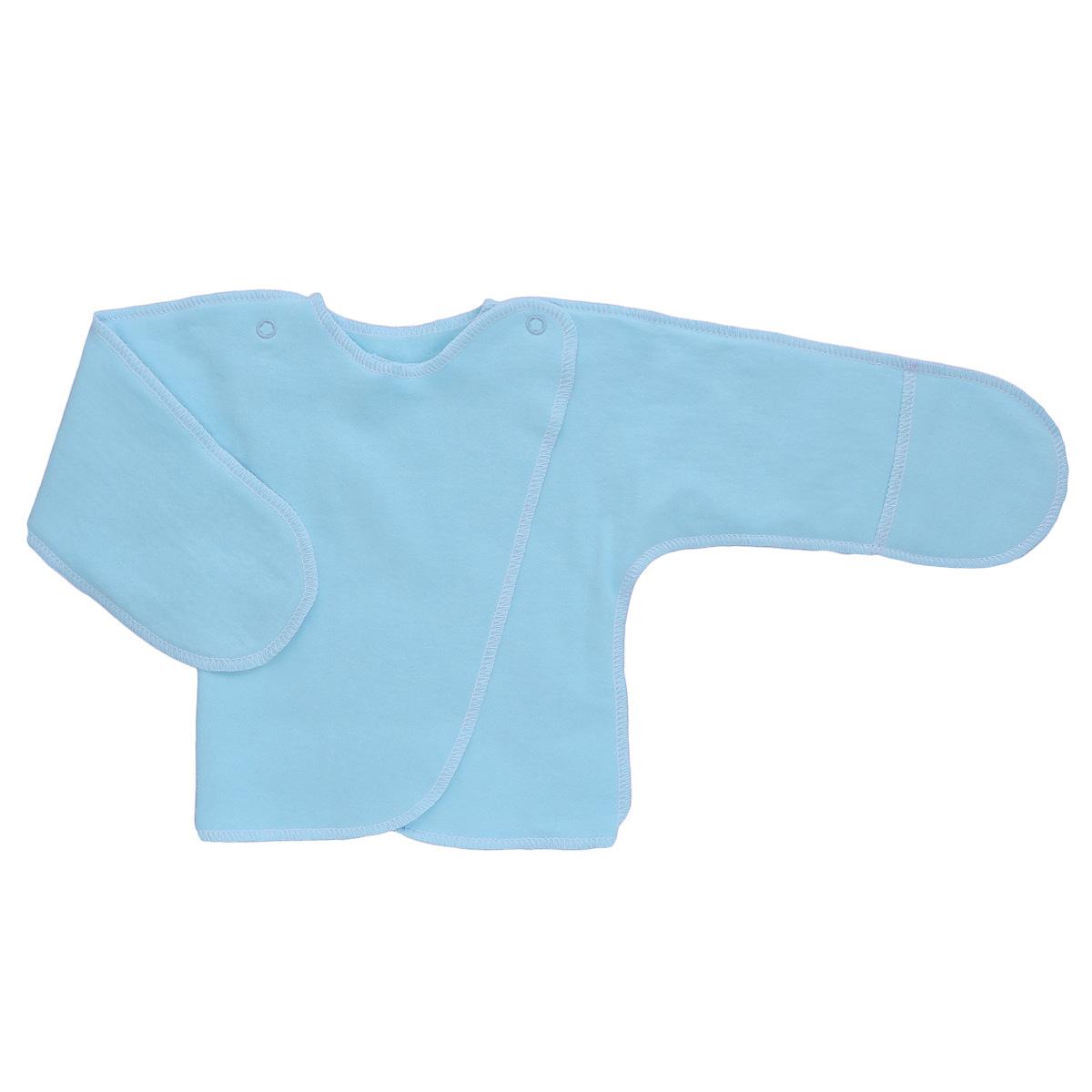 Распашонка Трон-Плюс, цвет: голубой. 5023. Размер 56, 1 месяц5023Распашонка с закрытыми ручками Трон-плюс послужит идеальным дополнением к гардеробу младенца. Распашонка, выполненная швами наружу, изготовлена из футера - натурального плотного хлопка, благодаря чему она необычайно мягкая, легкая и теплая, не раздражает нежную кожу ребенка и хорошо вентилируется, а эластичные швы приятны телу младенца и не препятствуют его движениям. Распашонка с запахом, застегивается при помощи двух кнопок на плечах, которые позволяют без труда переодеть ребенка. Благодаря рукавичкам ребенок не поцарапает себя.