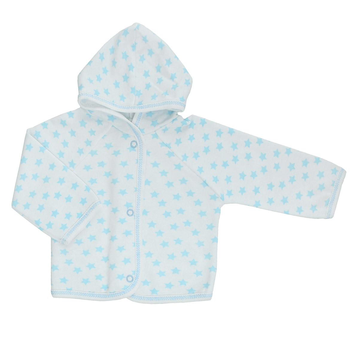 Кофточка детская Трон-плюс, цвет: белый, голубой, рисунок звезды. 5172. Размер 74, 9 месяцев5172Теплая кофточка Трон-плюс идеально подойдет вашему младенцу и станет идеальным дополнением к гардеробу вашего ребенка, обеспечивая ему наибольший комфорт. Изготовленная из футера - натурального хлопка, она необычайно мягкая и легкая, не раздражает нежную кожу ребенка и хорошо вентилируется, а эластичные швы приятны телу малыша и не препятствуют его движениям. Удобные застежки-кнопки по всей длине помогают легко переодеть младенца. Модель с длинными рукавами-реглан дополнена капюшоном. По краям кофточка обработана бейкой и украшена оригинальным принтом.Кофточка полностью соответствует особенностям жизни ребенка в ранний период, не стесняя и не ограничивая его в движениях.