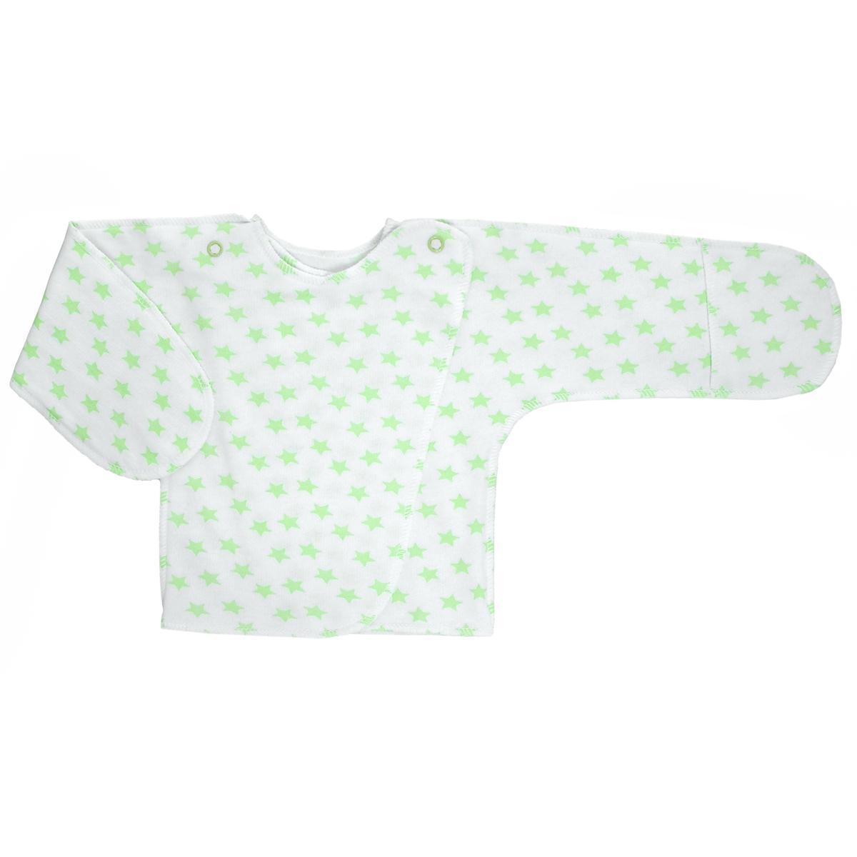 Распашонка Трон-Плюс, цвет: белый, салатовый, рисунок звезды. 5023. Размер 62, 3 месяца5023Распашонка с закрытыми ручками Трон-плюс послужит идеальным дополнением к гардеробу младенца. Распашонка, выполненная швами наружу, изготовлена из футера - натурального плотного хлопка, благодаря чему она необычайно мягкая, легкая и теплая, не раздражает нежную кожу ребенка и хорошо вентилируется, а эластичные швы приятны телу младенца и не препятствуют его движениям. Распашонка с запахом, застегивается при помощи двух кнопок на плечах, которые позволяют без труда переодеть ребенка. Благодаря рукавичкам ребенок не поцарапает себя.